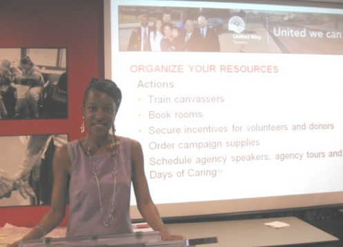 Photo as a United Way Canvassing and Speakers Bureau Representative