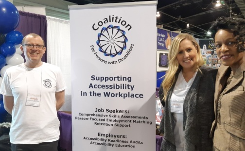 Me standing at the Coalition for Persons with Disabilities Booth at the 2019 Abilities Expo Conference