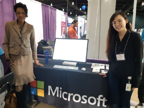 Me standing at the Microsoft Booth at the 2019 Abilities Expo Conference