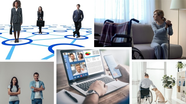 A collage of 5 pictures portraying social vs physical distancing including people with disabilities, corporate staff, young people and 2 individuals homebound