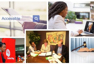 A collage consisting of Michelle Buckland giving a keynote, a black woman having a virtual call, Michelle Buckland having a discussion with 2 clients at a table, a man holding a tablet with the tag line Accessible, and a gavel on top of a book.