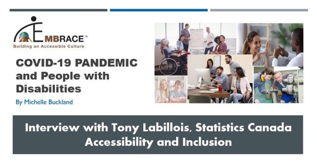 A screenshot of the title page of the presentation I shared during an interview with Tony Laballois, Statistics Canada in 2020 conducted by Michelle Buckland. It is titled COVID-19 Pandemic and People with Disabilities. It includes the EMBRACE logo and a collage of photos. The collage includes: 1) Young woman in wheelchair with colleagues at workplace gathered around a desk facing a computer screen; 2) Group photo of diverse young people at work around table with one in wheelchair; 3) Portrait of a Caucasian girl with Downs Syndrome sitting with home yutor using laptop; 4) Smiling mixed ethnicity friends talking with sign language sitting on a sofa; and 5) Two men working together with machinery.